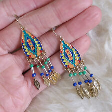 Vintage Bohemian Indiana Hippies Colorful Bead Leaves Charm Dangle Hook Earrings