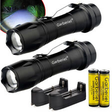 2 x Mini Tactical 15000Lumens T6 Power LED Zoom Focus 14500/AA Flashlight Torch