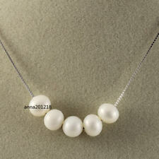 Super rare white 6-7 mm saltwater pearl pendant necklace 925s