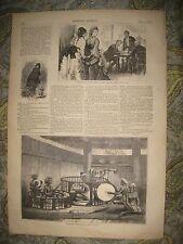 ANTIQUE 1872 BURMA BURMESE MUSIC MUSICIAN PRINT MYANMAR ASIA ASIAN DRUM DRUMMING