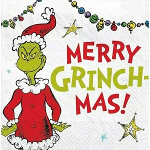 DR SEUSS CHRISTMAS GRINCH MERRY GRINCHMAS BEVERAGE NAPKINS PARTY DECORATIONS