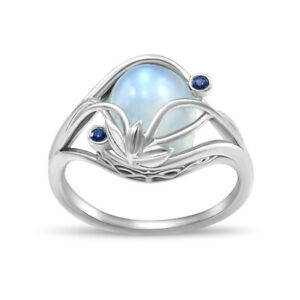 Fashion Moonstone Women Jewelry 925 Silver Rings Engagement Party Ring Size 6-10
