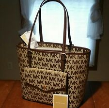 NWT MICHAEL KORS JET SET BEIGE MOCHA BROWN LG JACQUARD POCKET TOTE HANDBAG NEW