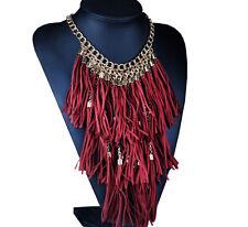 Exotic Red-Burgundy Suede Leather Tassel Fringe Multilayer Statement Necklace