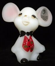 New listing Fenton Art Glass Opal Satin Mouse Figurine From 2007 Holiday Chums Collection