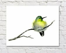 Hummingbird Watercolor Painting Bird Art Print by Artist DJ Rogers