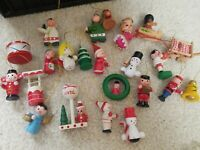 Vintage Wooden Hand Painted Christmas Ornaments LOT OF 23
