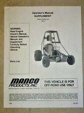 Manco Model 390-01 Go Kart Parts List Operators Manual Cart