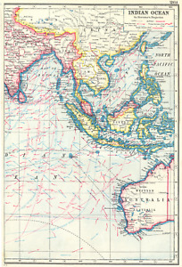 INDIAN OCEAN EAST. East Indies. Shows winds & ocean currents 1920 old map
