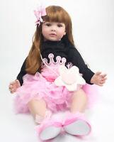 "Realistic Toddler Baby Girl Bebe Silicone Soft 24"" Lifelike Reborn Baby Dolls"