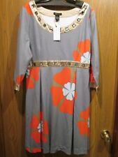 BCBG MAXAZRIA Lady's Cookie Gray  3/4 Sleeves Dress Size XL NEW $260