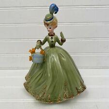 Vintage Josef Originals New Hat Sweet Sixteen Series Figurine Girl Green Dress