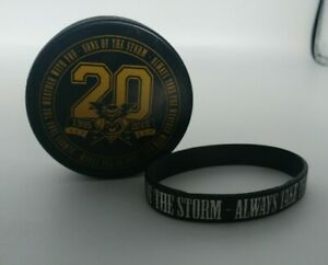 Manchester Storm - Sons Of The Storm 1995 - 2015 Ice Hockey Puck & Bracelet