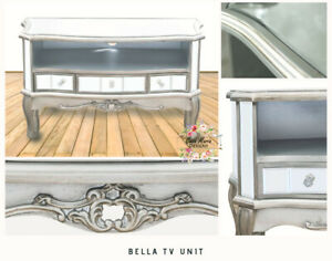 Mirrored TV Media Unit Stand Table Cabinet Vintage Silver Grey Retro 90cm New