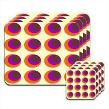 Funky Circle Pattern Brown Orange Purple Set of 4 Coasters