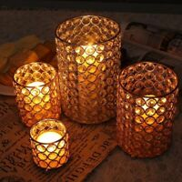 Cylinder Glass Tealight Candle Holders Metal Cup Crystal Stand Vases For Home
