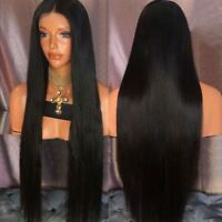 Ultra Long Middle Part Black Straight Synthetic Women Fashion Wig