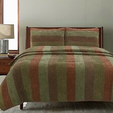 Rhett Brown Striped Polyester Reversible Quilt Set, Bedspread, Coverlet