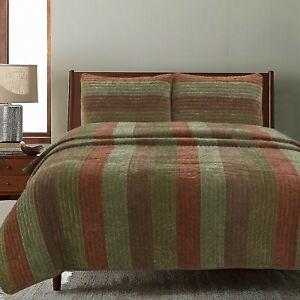 Rhett Brown Striped Polyester Reversible Quilt Set, Bedspread, Coverlet