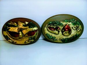 A Pair Of 3- D Painted Ceramic Wall Decor Duck Plaques