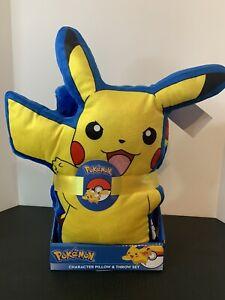 """Pokemon 13"""" PIKACHU Plush Pillow & 40""""x50"""" Soft THROW BLANKET."""