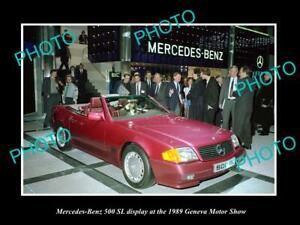 OLD 8x6 HISTORIC PHOTO OF MERCEDES BENZ 500 SL 1989 GENEVA MOTOR SHOW DISPLAY