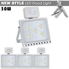4x 30W LED Flood Light PIR Motion Sensor Cool White Outdoor Spot Garden Lamp