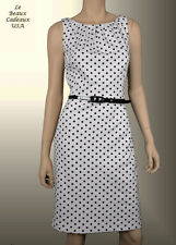 NWT$134 Lauren Ralph Lauren Women Sz 10 Dress White Black Knee Length Dressy