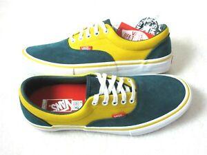Vans Men's Era Pro Prime Atlantic Gold Green Yellow Canvas Suede shoes size 8.5