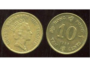 HONG KONG  10 ten cents 1988