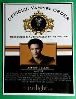 TWILIGHT OFFICIAL VAMPIRE ORDER VOLTURI EDWARD CULLEN ROBERT PATTINSON CARD