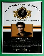 TWILIGHT OFFICIAL VAMPIRE ORDER VOLTURI EDWARD CULLEN ROBERT PATTINSON CARD