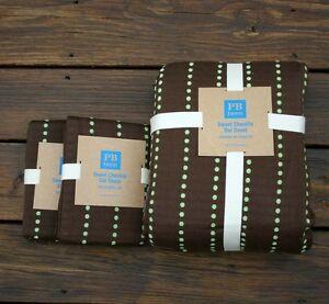 NEW POTTERY BARN TEEN Sweet Chenille dot Twin Duvet Cover shams 3pc brown mint