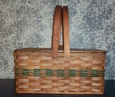 Amish Handwoven Country Rustic Large Picnic Basket with Pie Divider Tray