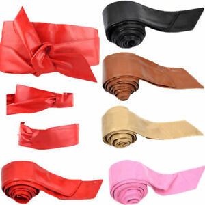PU Leather Soft Self Tie Band  Belt Wrap Around Plus Size Women