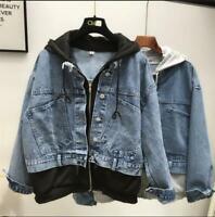 Womens Ladies Fashion Hooded Matching Denim Jeans Loose Jacket Coat Outwear SKGB