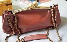 Topshop Vintage Look Brown Faux Leather Handbag