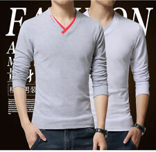 Stylish Men's Long Sleeve Tee Shirt V Neck Slim Fit Casual T-shirt Tee Tops