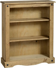 Corona Small Bookcase Display Unit Two Shelf Distressed Light Waxed Solid Pine