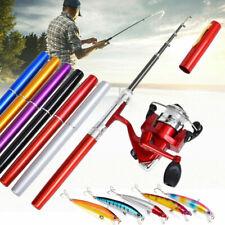 Mini Pen Fishing Rod 1m Retractable Aluminum Alloy Fishing Spool Pocket Fish HD