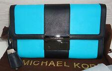 NEW $595 Michael Kors Gia Clutch Crossbody Black Aqua Turquoise Lock Key