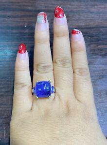 NATURAL TANZANITE 13X13 TANZANITE 6X4 DIAMOND CUT STERLING SILVE 925 RING