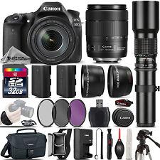 Canon EOS 80D DSLR WiFi NFC Camera + 18-135mm USM + 500mm Telephoto - 32GB Kit