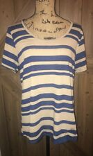 LuLaRoe Size Large CLASSIC T  Blue/ Brown STRIPED