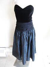 1980's Laura Ashley made in U.K. velvet bustier taffeta full skirt formal gown s