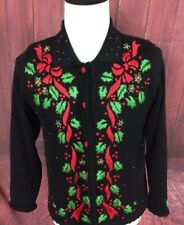 ARRIVISTE Womens Ugly Christmas Sweater Cardigan Black Sz Small Mistletoe