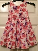 Girls White Pink Purple Floral Summer Dress Age 2-3 Years Matalan B18