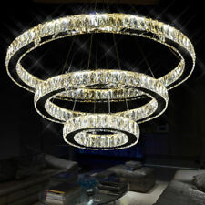 Modern Galaxy Big Crystal LED Round Ring Pendant Lamp Ceiling Lights Chandelier