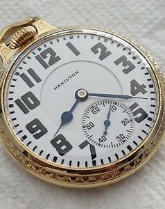 Beautiful Hamilton 16 Size 992 Elinvar 21Jewels Railroad Pocket Watch Running