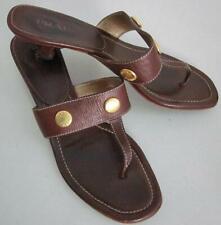 Prada Brown Sz EU 38 US 8 Leather T Strap Thong Kitten Heel Sandal Metal Stud -A